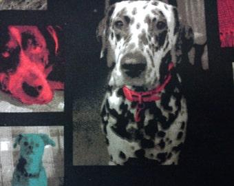 SALE - Dog in modern photo, black, 1/2 yard, pure cotton fabric