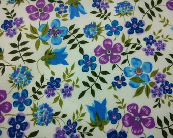 SALE - Blue and purple flowers, 1/2 yard, pure cotton fabric