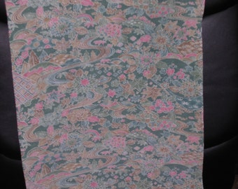 GREEN FLORAL  Vintage Japanese Kimono silk  Sharkskin   14  x 65 inches
