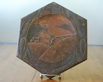 antique carved wooden wall palque - Grist Mill Scene - circa 1910 - primitive - folk art