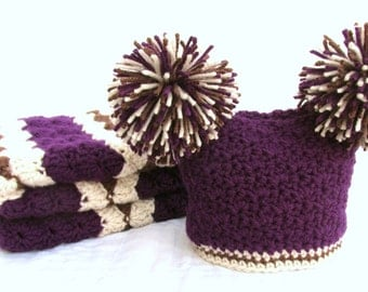 Baby Shower Gift Set, Crochet Baby Travel Blanket and Hat Gift Set, Purple, Cream, and Brown