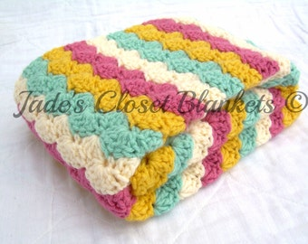 Crochet Baby Blanket, Baby Blanket, Crochet Baby Girl Blanket, Pink, Light Sage, Sunflower, and Cream, travel stroller size