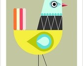 blue, yellow bird, mid century modern, print