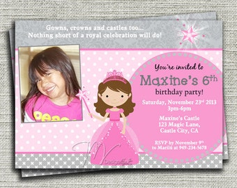 Princess Birthday Invitations-Digital File You Print