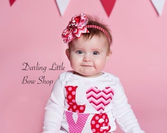 Girls Valentine Bodysuit or Shirt - Trendy LOVE - red, pink and hot pink polka dots, hearts and chevron
