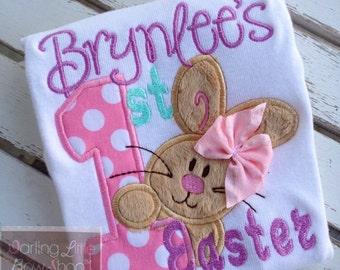 Baby Girl Easter bodysuit -- My 1st Easter -- First Easter Bunny bodysuit-- pastel aqua, pink, lavender