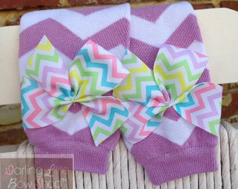 Baby Girl Leg Warmers -- Lavender chevron bow leg warmers -- lavender and white with pastel chevron bows