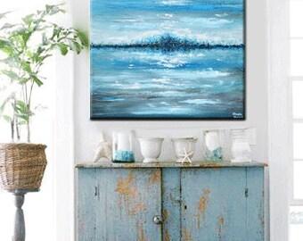 "CUSTOM Art Abstract Painting Blue Brown White Modern Textured Urban Contemporary Coastal Seascape Beach Wall Decor 36""  -Christine Krainock"
