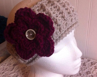 Ribbed Headband with Flower Made to Order - Adult Size