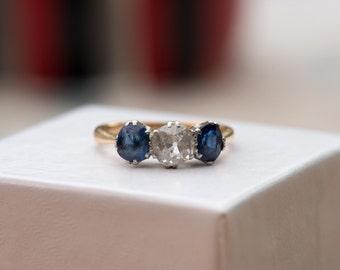 Free Shipping ~ Vintage Antique Art Deco 0.5 carat Diamond Sapphire 14 Carat Gold Platinum Engagement Wedding Ring