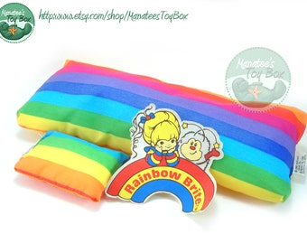 Vintage Rainbow Brite Color Cottage Parts Bed Pillow and Patch 1980s Toys
