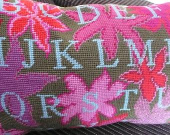Tapestry needlepoint alphabet cushion wool linen floral greens deep pinks