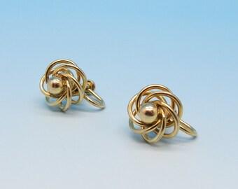 12kt Gold Filled Classic Spiral Filigree Screw Back Earrings