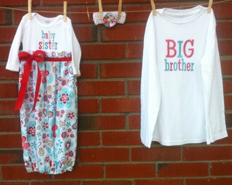 Big Brother and Baby Sister Gown Set.