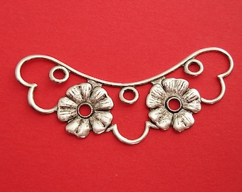 4- Ox Silver over Brass Stamping  Embellishment Flower Pendant Connector Jewelry Findings.
