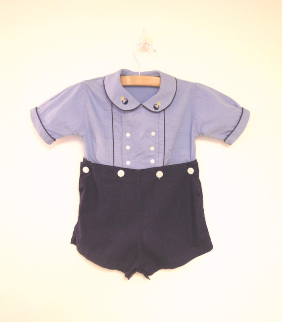 vintage baby clothes 1940 s sky blue and navy blue baby