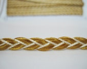 5 Yards 6 mm Classic Gold Shiny Flat Braided Cord, Braided Cord, Flat Braided Cord, wholesale cord, plaited cord, gold cord, gold braided