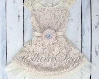 Items similar to Girls Lace Maxi Dress, Lace Flower Girl Dress ...