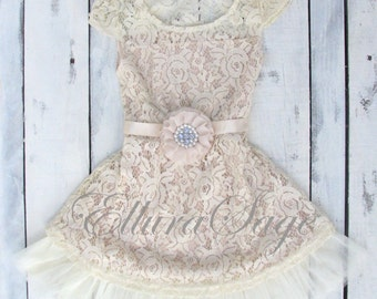 champagne flower girl dress, lace baby dress, rustic flower girl dress, country flower girl dress, lace girls dresses, flower girl dress