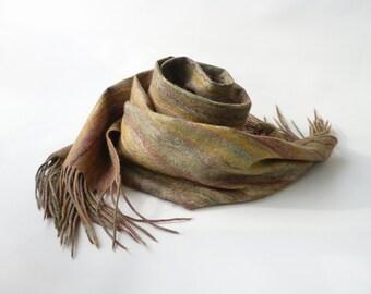 Felted scarf, fall fashion, felt scarf, cobweb, shawl, wrap, fringe, tasseled scarf, fringed scarf, autumn colors, fall leaf scarf