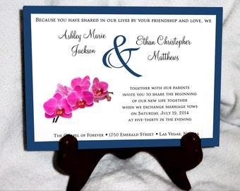 Pink Orchids Wedding Invitations, RSVP's, Reception Insert w/ FREE Calendar Stickers