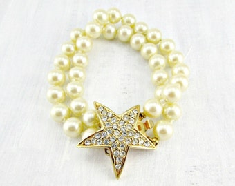 Vintage JOAN RIVERS Bracelet, Ivory Glass Pearl Double Strand Bracelet, Rhinestone Star Clasp, 1990 High End Designer Jewelry, Gift for Mom