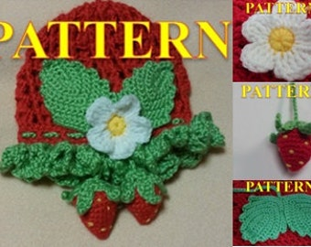 FOUR CROCHET PATTERNS for Baby Girl. Crochet Hat With strawberry decoration (3-12 month)