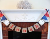 Childrens name banner- Little League name banner- Baseball banner- Baby Boy Banner- childrens room decor- Baseball banner- your color choice