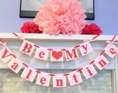 Be My Valentine Banner/ Valentines Day Decoration/ Chevron Stripe Valentine Decor/ Photo Prop
