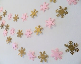 Pink and gold Baby Shower Decor - 6ft paper Snowflake Garland, Winter Onederland Decor, Holiday Decor, Winter decorations