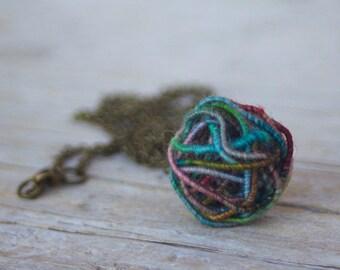 Ball Yarn Bead Necklace