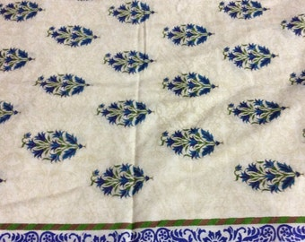 1 meter  indian  Cotton  fabric in off white with blue