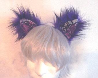 Purple Cat Ears cosplay fuzzy patchwork batik colorful ears headband rave catboy kawaii unisex hair accessory