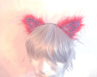 Red and white Cat Ears cosplay fuzzy patchwork batik colorful ears headband rave catboy kawaii unisex hair accessory