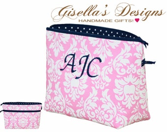 Personalized Zipper Bag, Wedding day survival kit, Bridal Shower Gift, Large Cosmetic Bag, travel organizer.