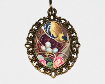 Goldfinch Necklace, Bird Nest, Mother Bird, Roses, Bird Jewelry, Oval Pendant