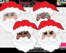 Jolly Santa Faces 1 Clipart (Digital Download)