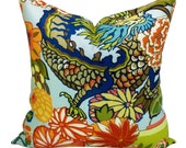 Pair of TWO Schumacher Chiang Mai Dragon pillow covers in Aquamarine