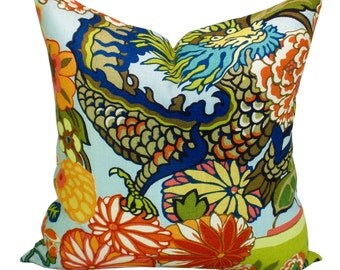 Schumacher Chiang Mai Dragon pillow cover in Aquamarine - ON BOTH SIDES