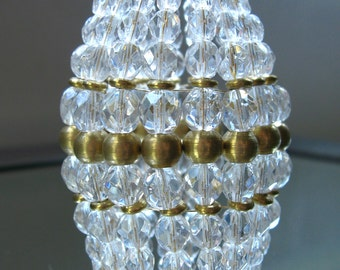 Small Beaded Light Bulb Cover, Faceted Glass, Brass Beads, Chandelier Shade, Sconce Shade, Candelabra Shade, Lamp Shade
