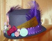 Willy Wonka Hat Costume with Golden Ticket, Charlie and the Chocolate Factory, Gene Wilder - Child or Adult