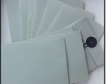 Coin Envelopes, 12 String & Button Envelopes: Plain Luxury Greyish Blue C6 Envelopes, For Craftwork Invitations and More