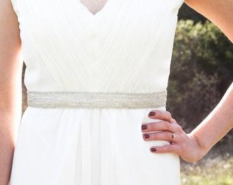 KATE - Beaded Bridal Sash, Wedding Belt