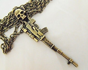 Bronze Pendant Necklace,  Skulled Sniper Rifle Necklace Mens Womens Gift Handmade