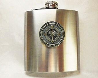 Flask,  Steampunk Nautical Virdigris Bronze Compass Flask 6 ounce Mens Womens Gift  Handmade