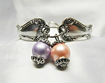 Silver Spoon Bracelet Traditional Style Lavender and Pink Pearls  Womens Gift  Handmade