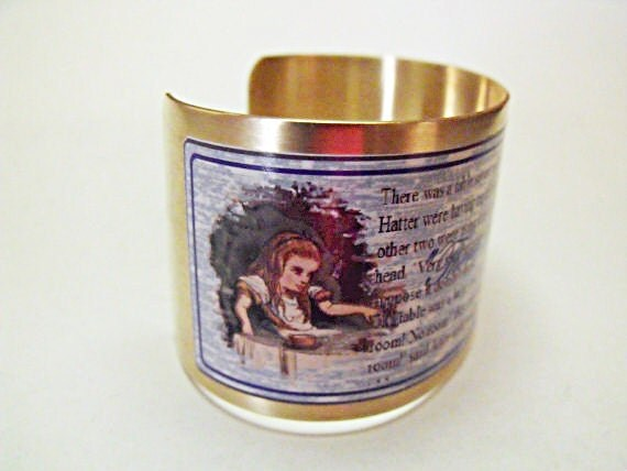 Brass Cuff Bracelet,  Alice in Wonderland Mad Hatter Image Wide Cuff Bracelet Womens Gift Handmade