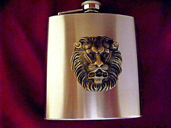 Flask,  Large Steampunk Lions Head Brass,  6 Ounces  Mens Womens Gift Idea Wedding Favors Handmade