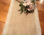 "12"" Wide Burlap Table Runner with Lace Rustic Wedding Decor Bridal Shower Decorations Table Runners for Wedding"