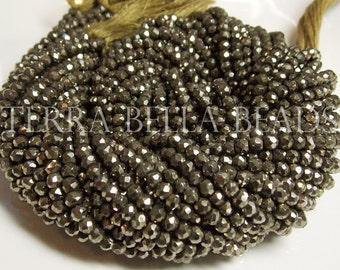 "Full 13"" strand natural golden PYRITE faceted rondelle gem stone beads 3.5mm - 4mm"